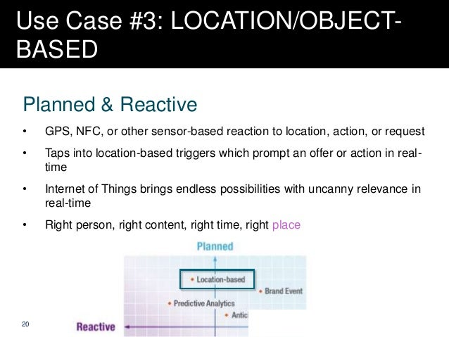 Use Case #3: LOCATION/OBJECTBASED Planned & Reactive •  GPS, NFC, or other sensor-based reaction to location, action, or r...