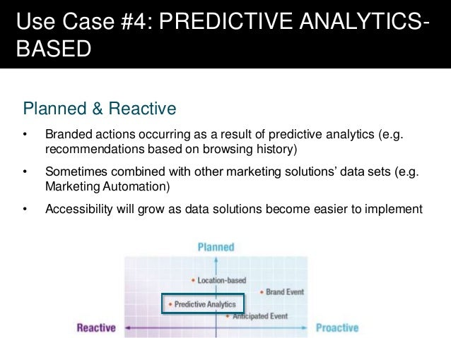 Use Case #4: PREDICTIVE ANALYTICSBASED Planned & Reactive •  Branded actions occurring as a result of predictive analytics...