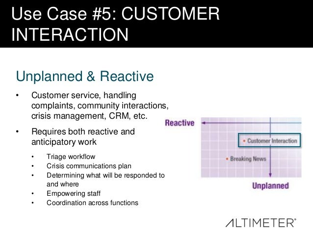 Use Case #5: CUSTOMER INTERACTION Unplanned & Reactive •  Customer service, handling complaints, community interactions, c...