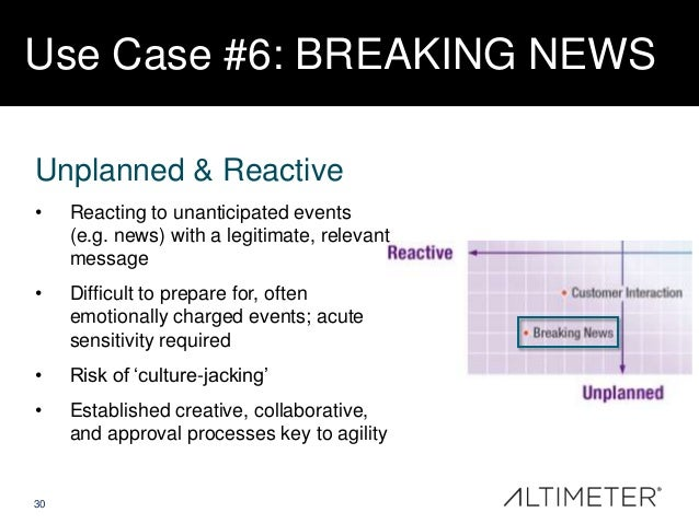 Use Case #6: BREAKING NEWS Unplanned & Reactive •  Reacting to unanticipated events (e.g. news) with a legitimate, relevan...
