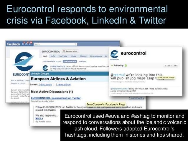 Eurocontrol responds to environmental crisis via Facebook, LinkedIn & Twitter  Eurocontrol used #euva and #ashtag to monit...