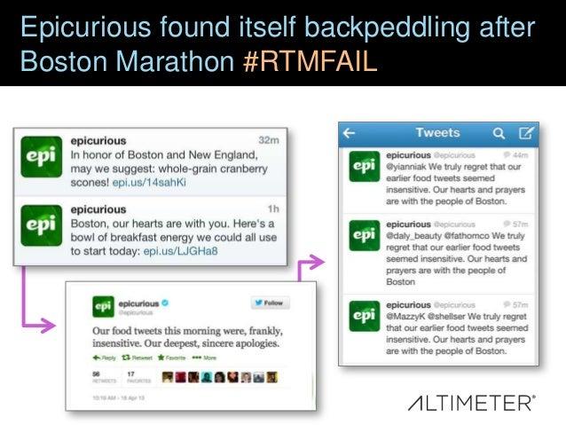Epicurious found itself backpeddling after Boston Marathon #RTMFAIL