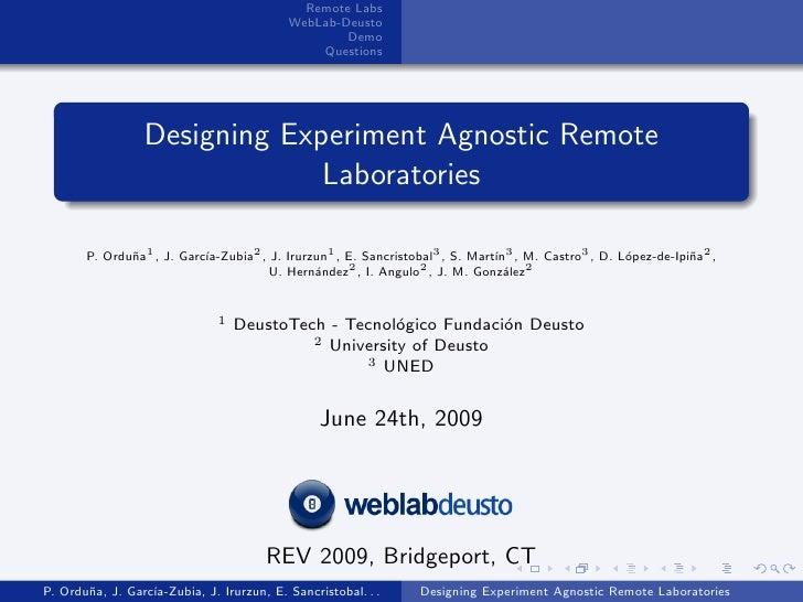 Remote Labs                                            WebLab-Deusto                                                    De...