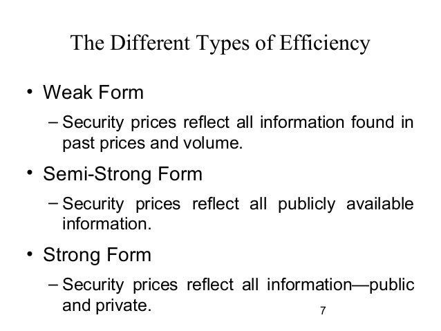 the weak form efficiency of the gcc Weak form of market efficiency is when past information related to prices is fully reflected in the current market prices and hence it cannot be used to earn excess return weak form of market efficiency is the weakest form of efficient market hypothesis (emh.
