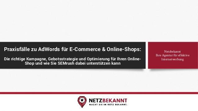 Praxisfälle zu AdWords für E-Commerce & Online-Shops: Die richtige Kampagne, Gebotsstrategie und Optimierung für Ihren Onl...