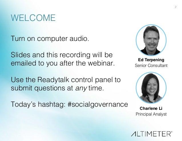 [Slides] Social Business Governance, Altimeter Group Slide 2