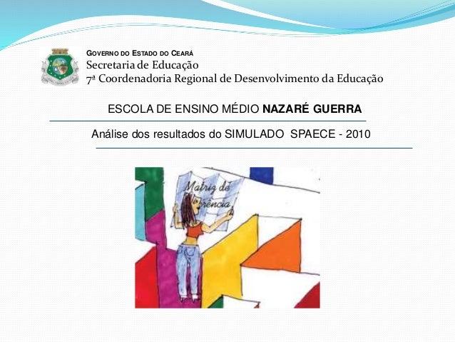 Análise dos resultados do SIMULADO SPAECE - 2010 GOVERNO DO ESTADO DO CEARÁ Secretaria de Educação 7ª Coordenadoria Region...