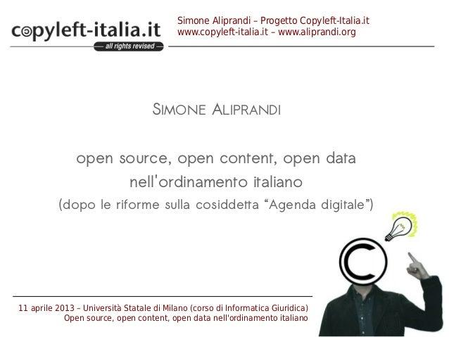 Simone Aliprandi – Progetto Copyleft-Italia.itwww.copyleft-italia.it – www.aliprandi.orgSIMONE ALIPRANDIopen source, open ...