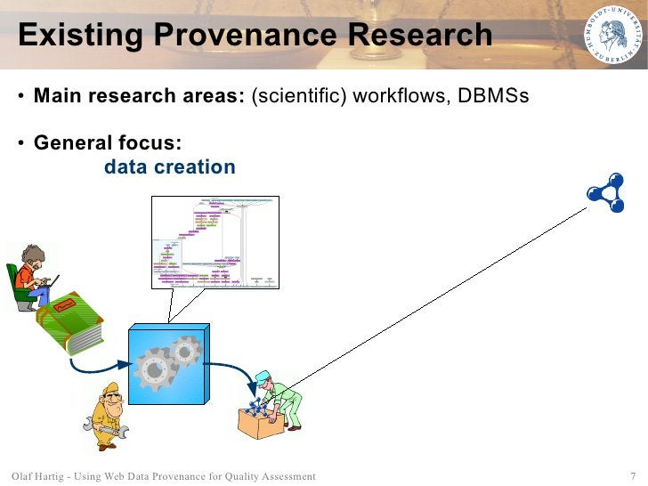 Existing Provenance Research  ●   Main research areas: (scientific) workflows, DBMSs  ●   General focus:            data c...