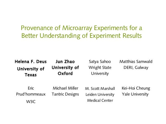 provenance of microarray experiments