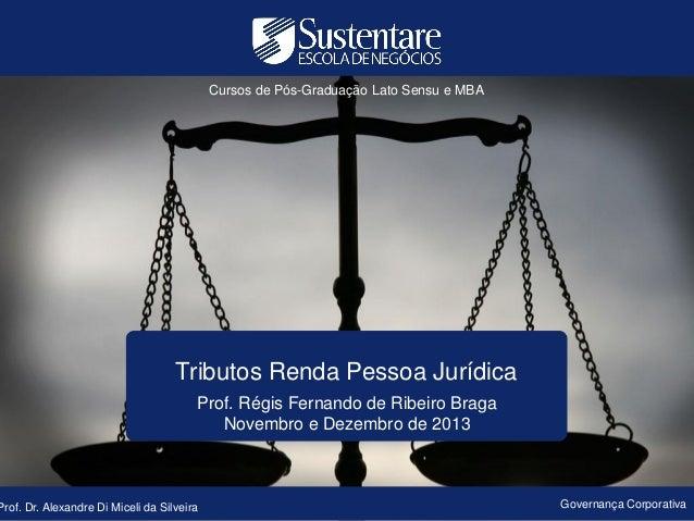 Cursos de Pós-Graduação Lato Sensu e MBA  Tributos Renda Pessoa Jurídica Prof. Régis Fernando de Ribeiro Braga Novembro e ...