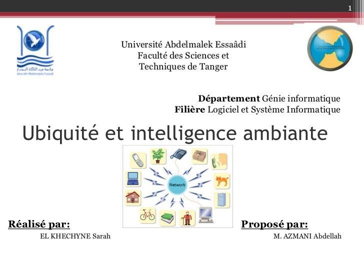1                          Université Abdelmalek Essaâdi                             Faculté des Sciences et              ...