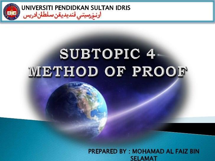 UNIVERSITI PENDIDKAN SULTAN IDRIS                    PREPARED BY : MOHAMAD AL FAIZ BIN                                 SEL...