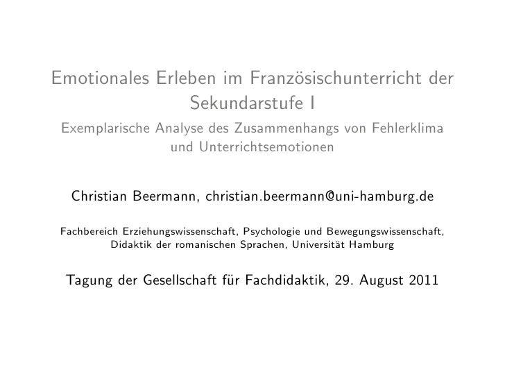 Emotionales Erleben im Franz¨sischunterricht der                            o                Sekundarstufe I Exemplarische...