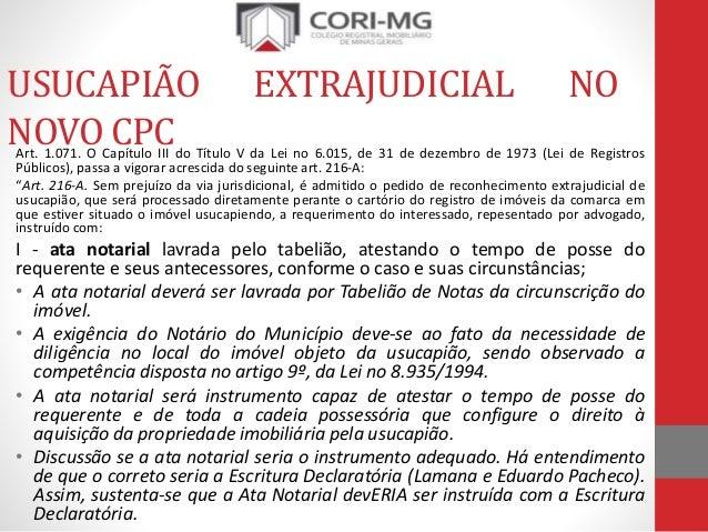 Slides usucapi o extrajudicial for Via extrajudicial