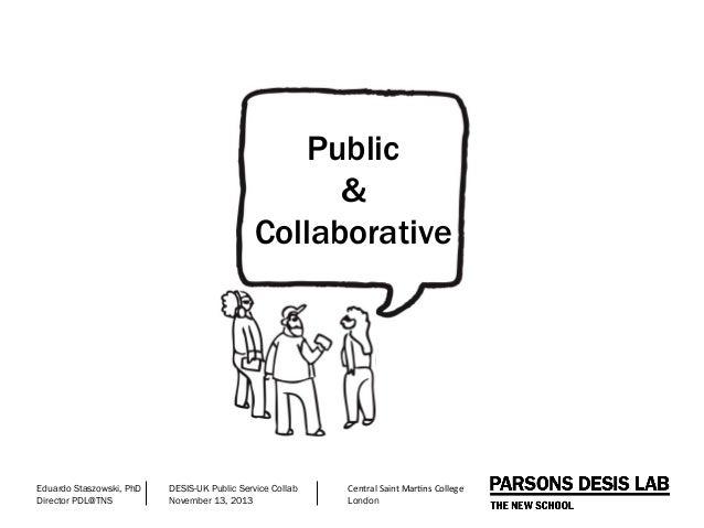 Public & Collaborative  Eduardo Staszowski, PhD Director PDL@TNS  DESIS-UK Public Service Collab November 13, 2013  Centra...