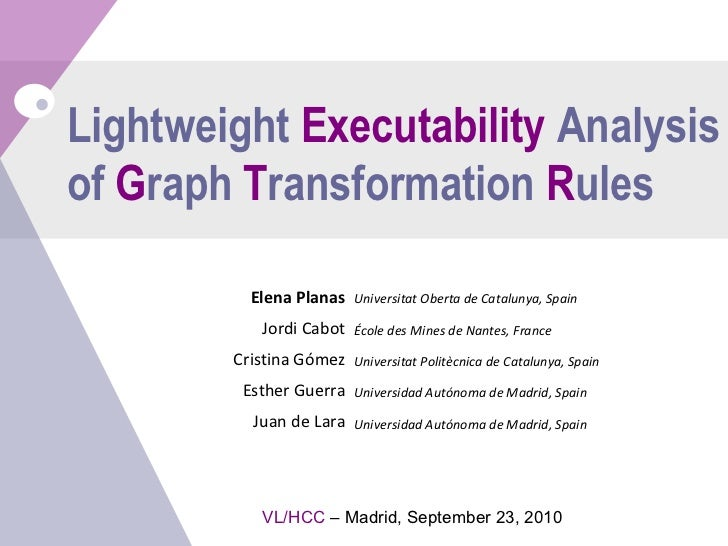 Lightweight  Executability  Analysis of  G raph  T ransformation  R ules Universitat Oberta de Catalunya, Spain École des ...