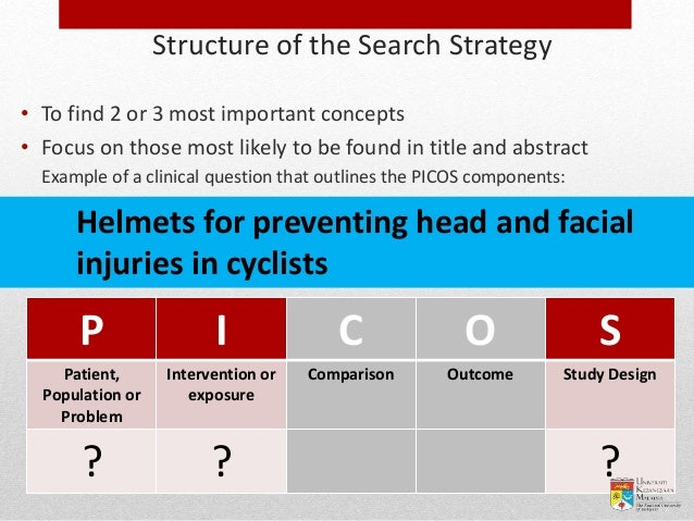 Example of a clinical question that outlines the PICOS components: Helmets for preventing head and facial injuries in cycl...