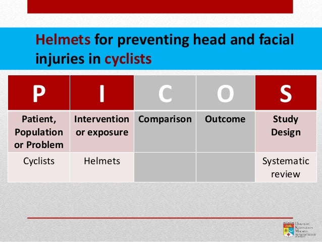 P I C O S Patient, Population or Problem Intervention or exposure Comparison Outcome Study Design Cyclists Helmets Systema...