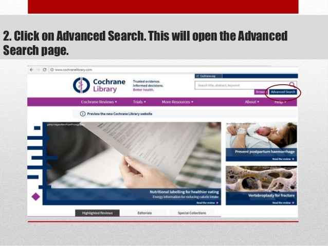 2. Click on Advanced Search. This will open the Advanced Search page.