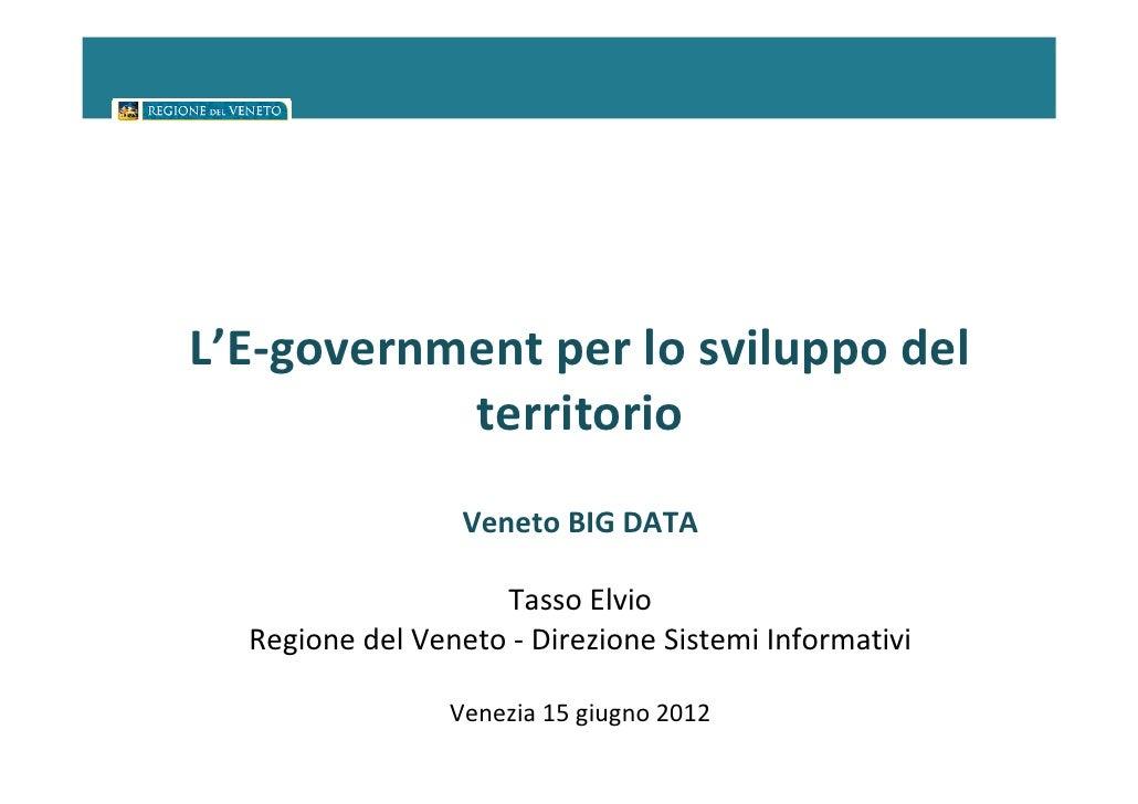 L'E-government per lo sviluppo del           territorio                  Veneto BIG DATA                    Tasso Elvio  R...