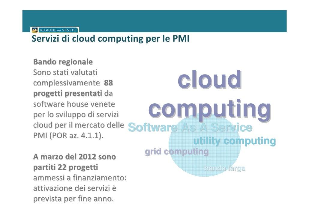 Servizi di cloud computing per le PMIBando regionaleSono stati valutaticomplessivamente 88progetti presentati da          ...