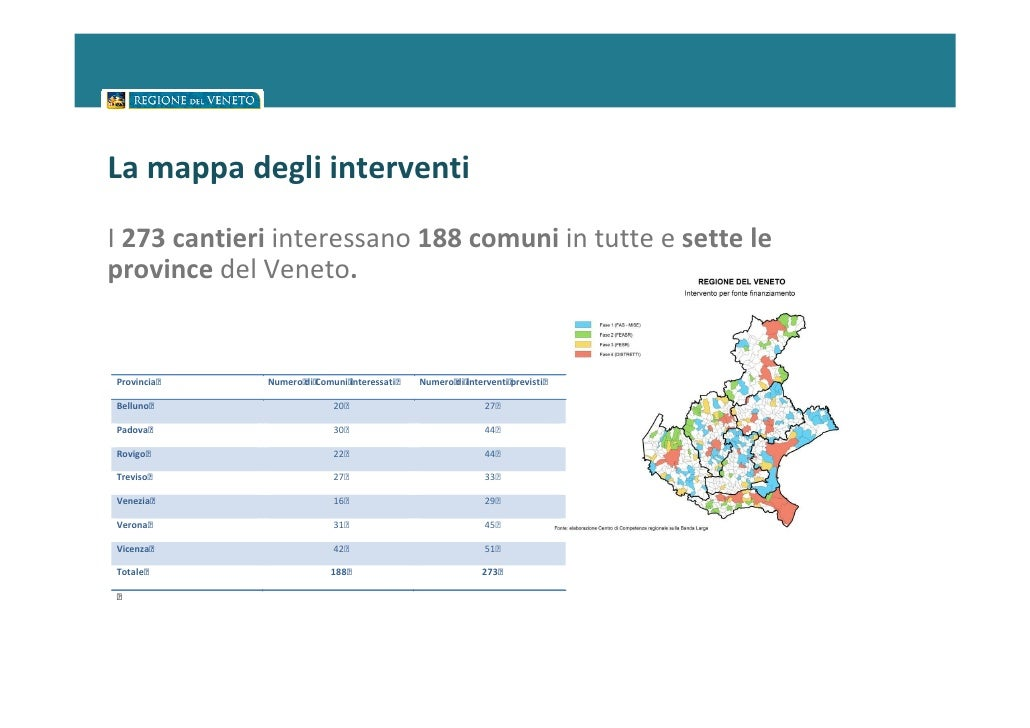 La mappa degli interventiI 273 cantieri interessano 188 comuni in tutte e sette leprovince del Veneto.Provincia   Numero...