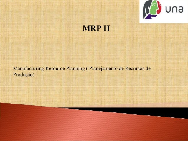 MRP II Manufacturing Resource Planning ( Planejamento de Recursos de Produção)