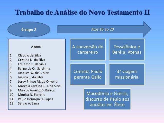 Trabalho de Análise do Novo Testamento II Alunos: 1. Cláudio da Silva 2. Cristina N. da Silva 3. Eduardo B. da Silva 4. Fe...