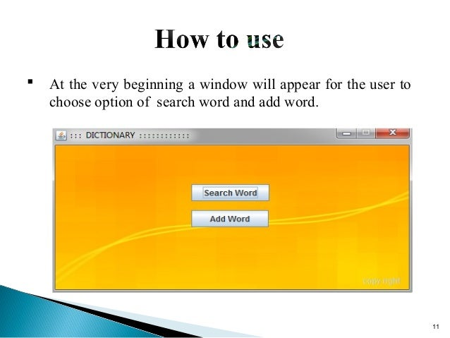 Word Dictionary - Software Development Project 1