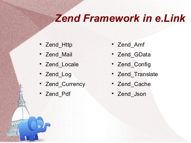 Zend Framework in e.Link    Zend_Http                               Zend_Amf    Zend_Mail                             ...