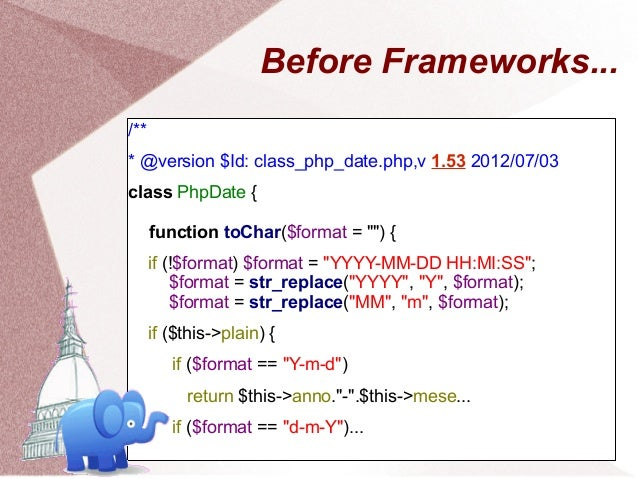 Before Frameworks.../*** @version $Id: class_php_date.php,v 1.53 2012/07/03class PhpDate {      function toChar($format = ...