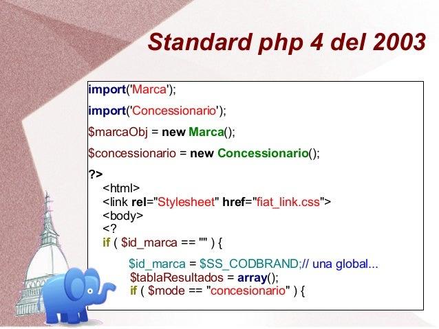 Standard php 4 del 2003import(Marca);import(Concessionario);$marcaObj = new Marca();$concessionario = new Concessionario()...