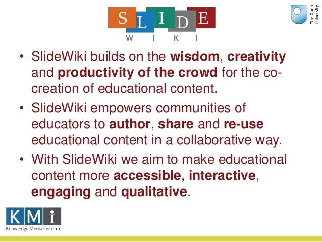 Collaborative OpenCourseWare Authoring: The SlideWiki Platform Slide 3