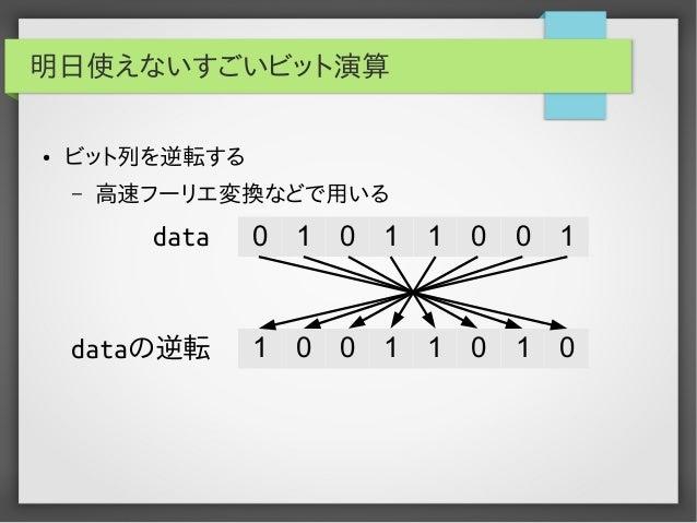 明日使えないすごいビット演算 ●  ビット列を逆転する –  高速フーリエ変換などで用いる  data  0  1  0  1  1  0  0  1  dataの逆転  1  0  0  1  1  0  1  0