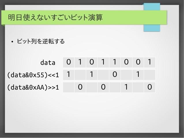 明日使えないすごいビット演算 ●  ビット列を逆転する  data  0 1 0 1 1 0 0 1  (data&0x55)<<1 1 (data&0xAA)>>1  1 0  0 0  1 1  0
