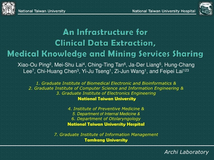 An Infrastructure for Clinical Data Extraction, Medical Knowledge and Mining Services Sharing<br />Xiao-Ou Ping2, Mei-Shu ...