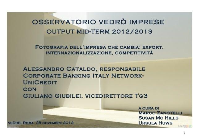 OSSERVATORIO VEDRÒ IMPRESE                 OUTPUT MID-TERM 2012/2013            Fotografia dell'impresa che cambia: export...