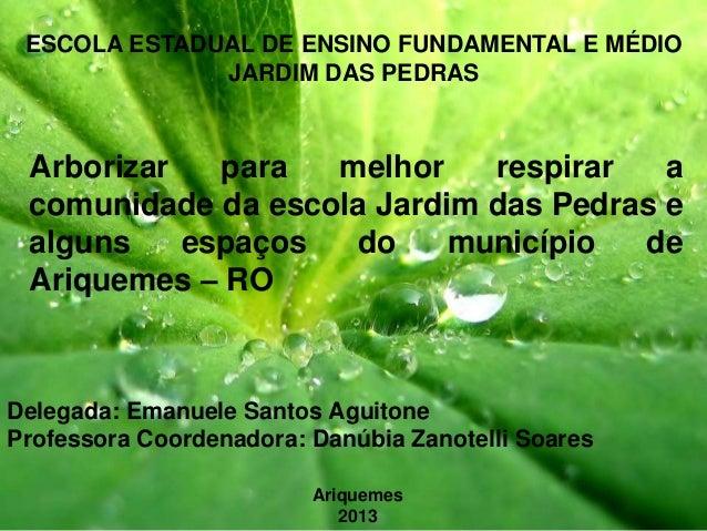ESCOLA ESTADUAL DE ENSINO FUNDAMENTAL E MÉDIO JARDIM DAS PEDRAS  Arborizar para melhor respirar a comunidade da escola Jar...