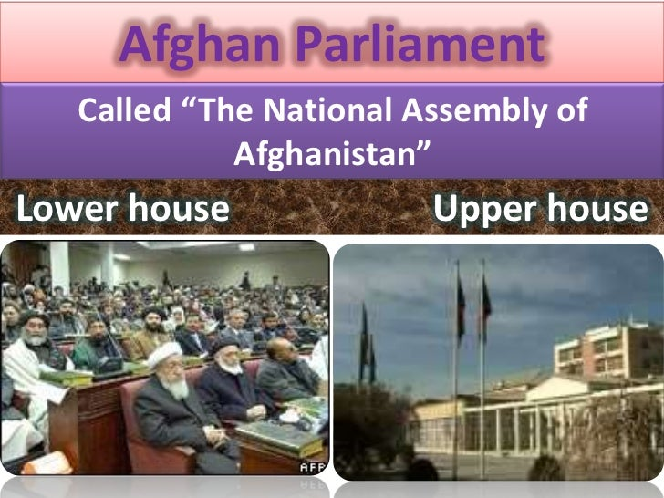 """Afghan Parliament   Called """"The National Assembly of             Afghanistan""""Lower house              Upper house"""