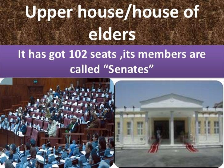 "Upper house/house of        eldersIt has got 102 seats ,its members are           called ""Senates"""