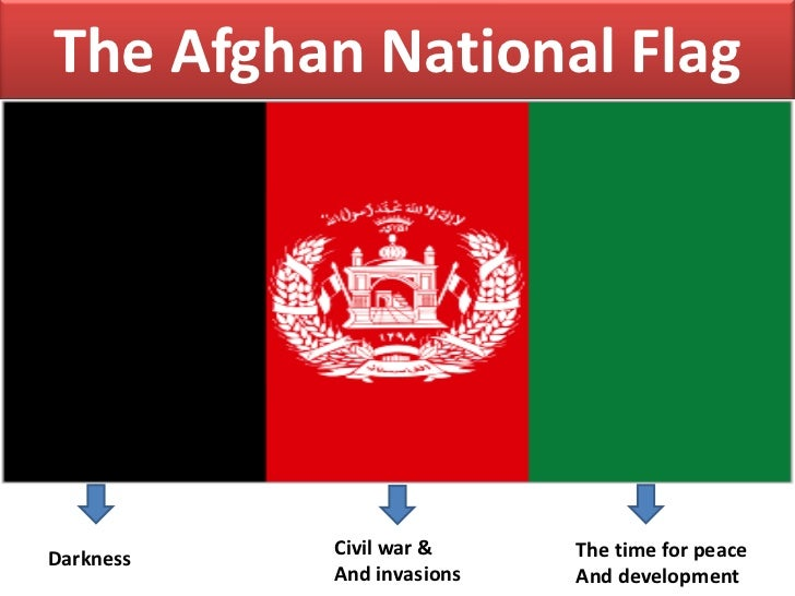 The Afghan National FlagDarkness   Civil war &     The time for peace           And invasions   And development