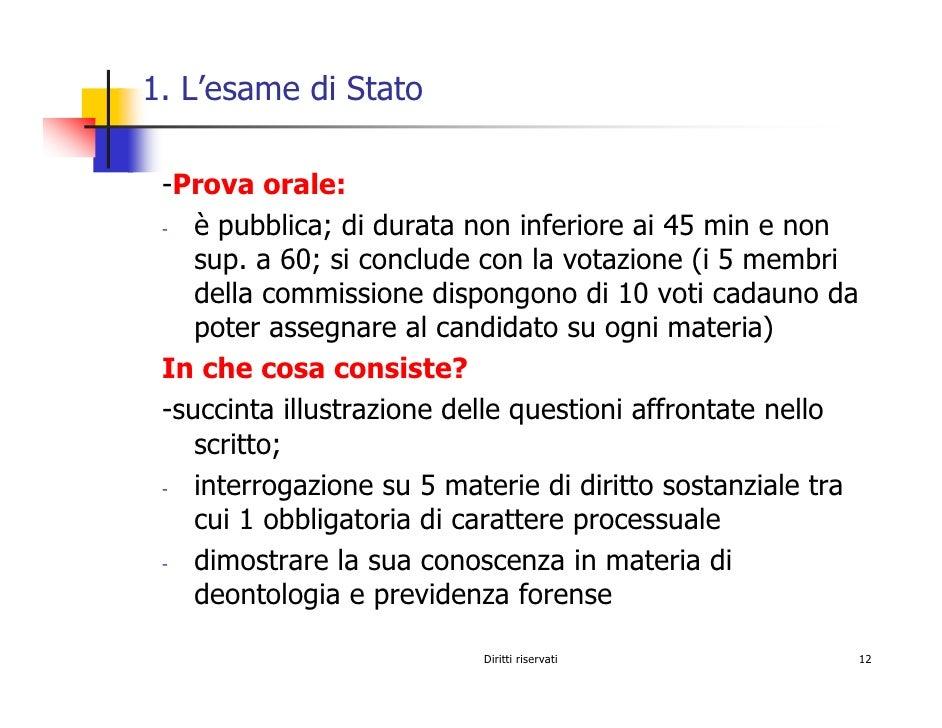 1. L'esame di Stato   -Prova orale:     è pubblica; di durata non inferiore ai 45 min e non  -      sup. a 60; si conclude...