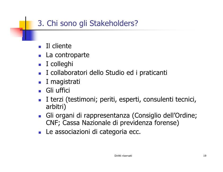 3. Chi sono gli Stakeholders?    Il cliente   La controparte   I colleghi   I collaboratori dello Studio ed i praticanti  ...