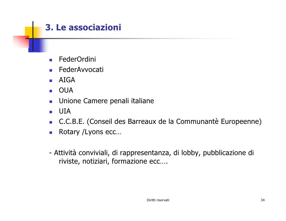 3. Le associazioni      FederOrdini    FederAvvocati    AIGA    OUA    Unione Camere penali italiane    UIA    C.C.B.E. (C...
