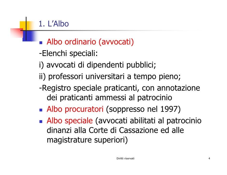 1. L'Albo     Albo ordinario (avvocati) -Elenchi speciali: i) avvocati di dipendenti pubblici; ii) professori universitari...