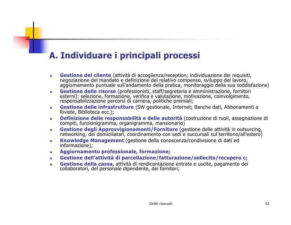 A. Individuare i principali processi    Gestione del cliente (attività di accoglienza/reception; individuazione dei requis...