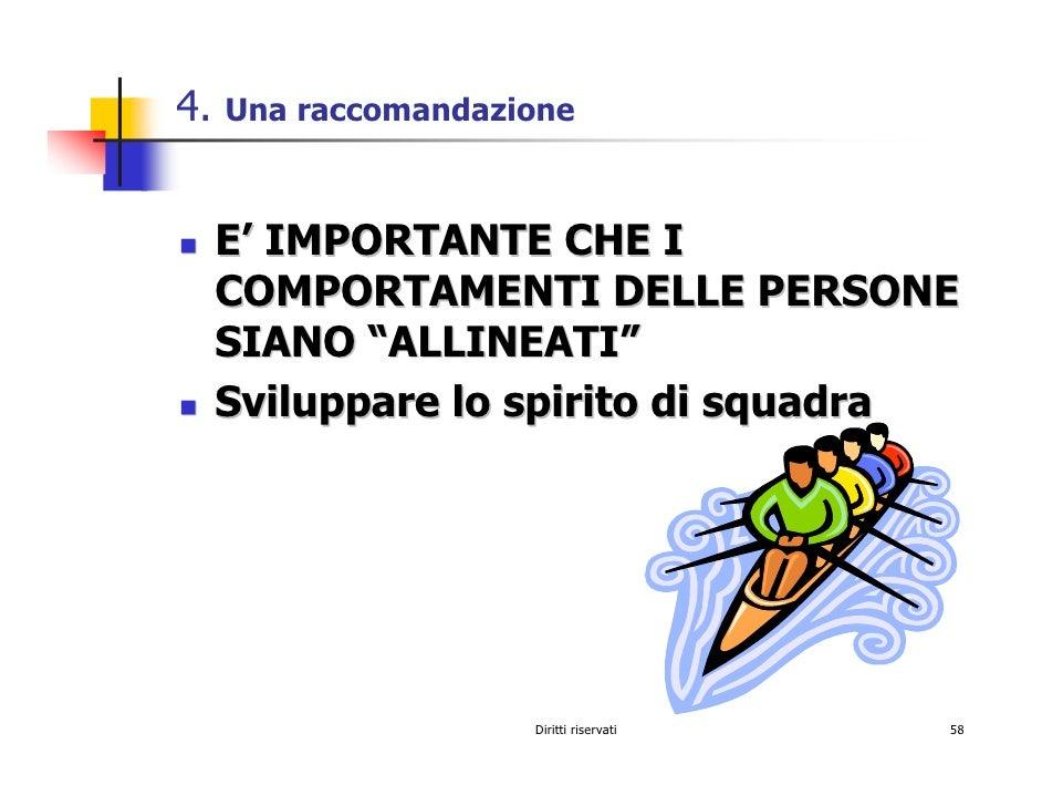 """4.   Una raccomandazione         E' IMPORTANTE CHE I      COMPORTAMENTI DELLE PERSONE      SIANO """"ALLINEATI""""      Sviluppa..."""