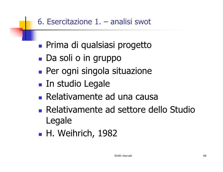 6. Esercitazione 1. – analisi swot     Prima di qualsiasi progetto   Da soli o in gruppo   Per ogni singola situazione   I...