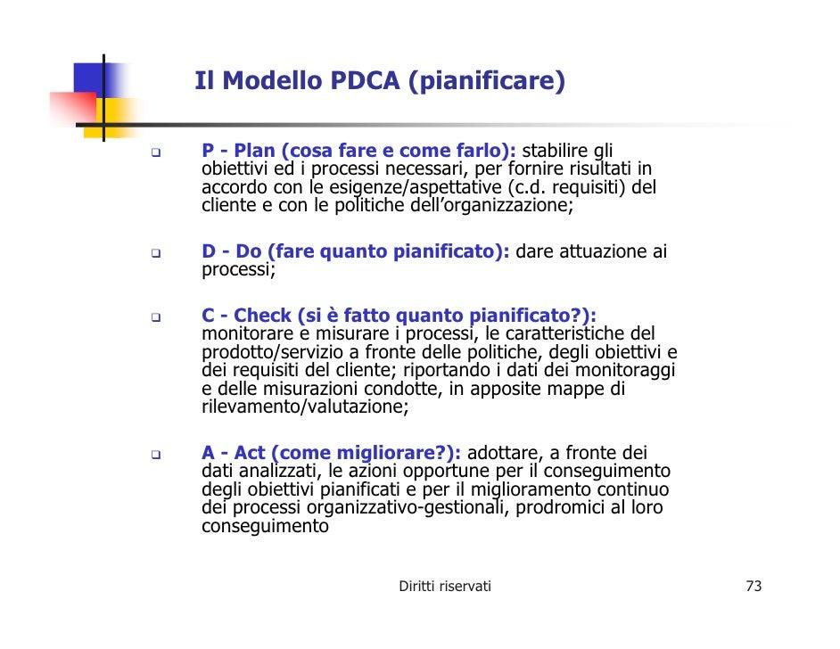 Il Modello PDCA (pianificare)  P - Plan (cosa fare e come farlo): stabilire gli obiettivi ed i processi necessari, per for...